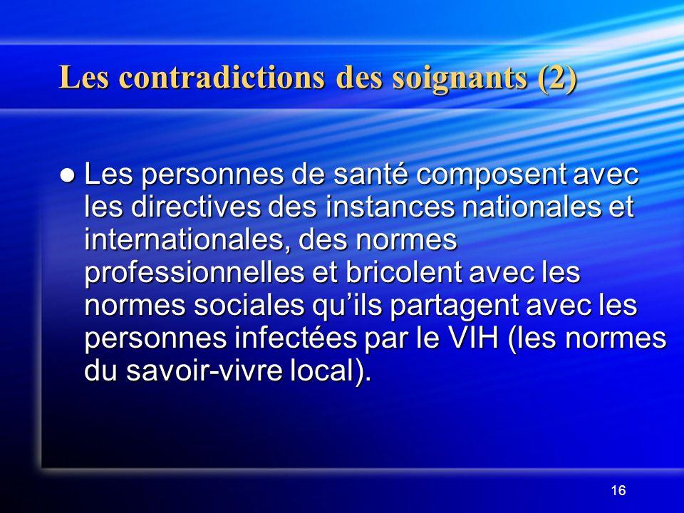 16 Les contradictions des soignants (2) Les personnes de santé composent avec les directives des instances nationales et internationales, des normes p
