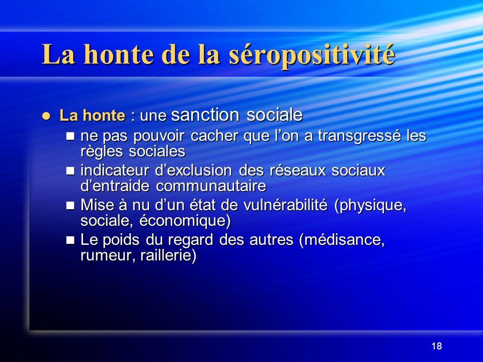 18 La honte de la séropositivité La honte : une sanction sociale La honte : une sanction sociale ne pas pouvoir cacher que lon a transgressé les règle