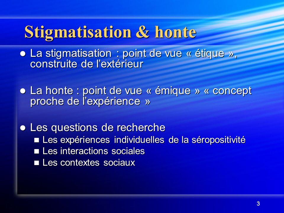 3 Stigmatisation & honte La stigmatisation : point de vue « étique », construite de lextérieur La stigmatisation : point de vue « étique », construite
