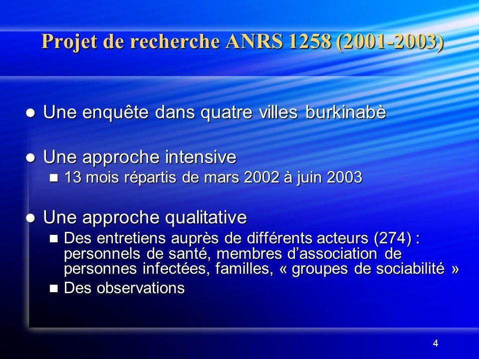 4 Projet de recherche ANRS 1258 (2001-2003) Une enquête dans quatre villes burkinabè Une enquête dans quatre villes burkinabè Une approche intensive U