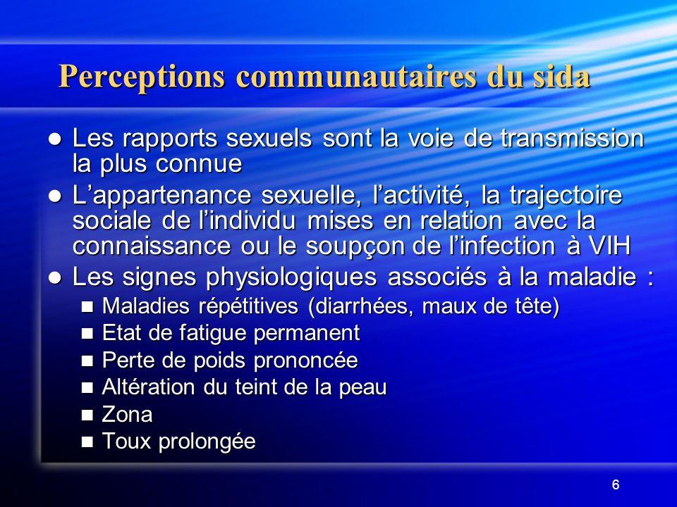 6 Perceptions communautaires du sida Les rapports sexuels sont la voie de transmission la plus connue Les rapports sexuels sont la voie de transmissio