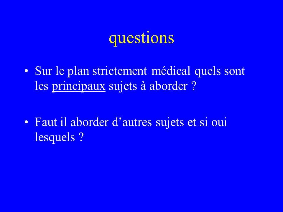 questions Sur le plan strictement médical quels sont les principaux sujets à aborder .