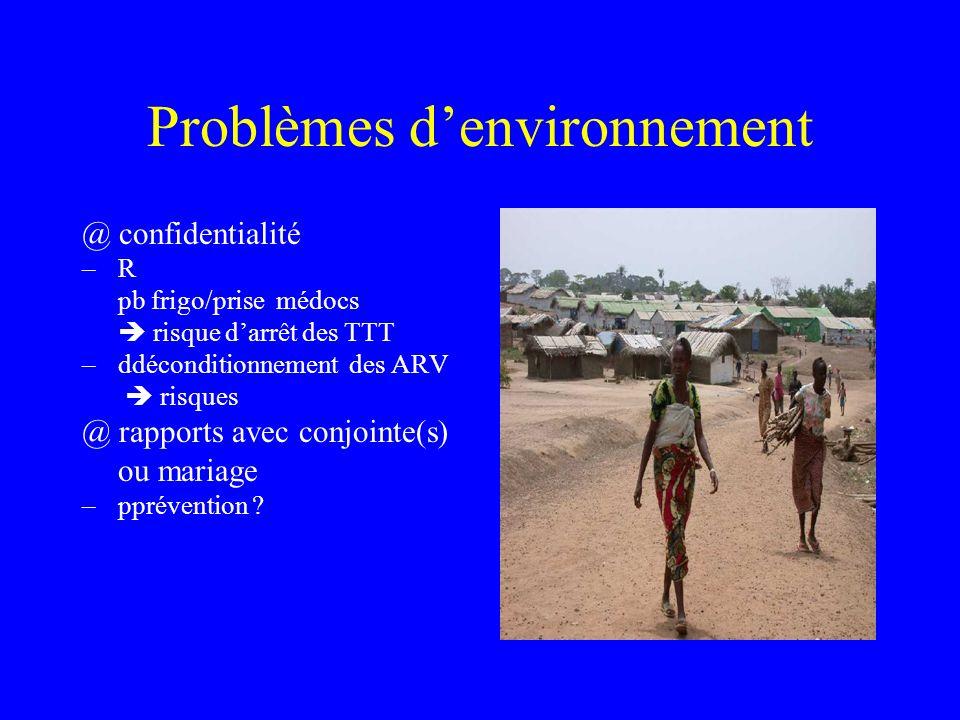 Problèmes denvironnement @ confidentialité –R pb frigo/prise médocs risque darrêt des TTT –ddéconditionnement des ARV risques @ rapports avec conjointe(s) ou mariage –pprévention ?
