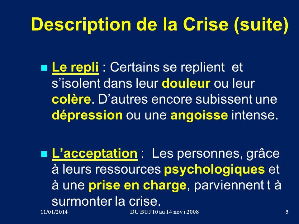 Description de la Crise (suite) Le repli : Certains se replient et sisolent dans leur douleur ou leur colère. Dautres encore subissent une dépression