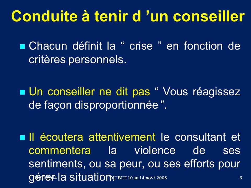Conduite à tenir d un conseiller Chacun définit la crise en fonction de critères personnels. Un conseiller ne dit pas Vous réagissez de façon dispropo