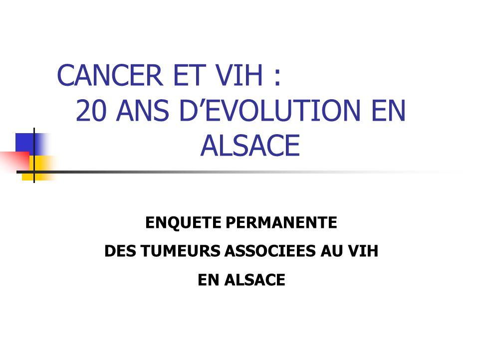 CANCER ET VIH : 20 ANS DEVOLUTION EN ALSACE ENQUETE PERMANENTE DES TUMEURS ASSOCIEES AU VIH EN ALSACE