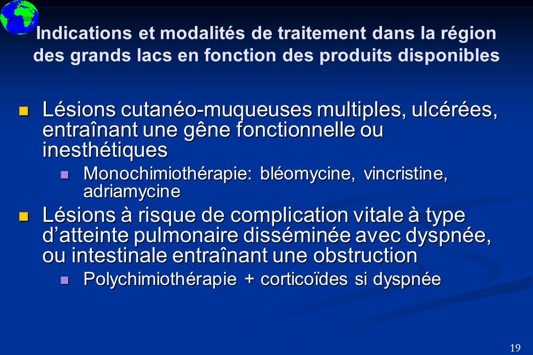 DIU 2008 19 Indications et modalités de traitement dans la région des grands lacs en fonction des produits disponibles Lésions cutanéo-muqueuses multi