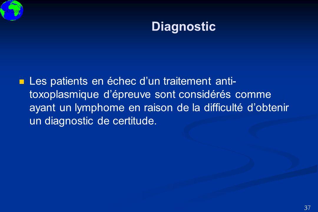 DIU 2008 37 Diagnostic Les patients en échec dun traitement anti- toxoplasmique dépreuve sont considérés comme ayant un lymphome en raison de la diffi