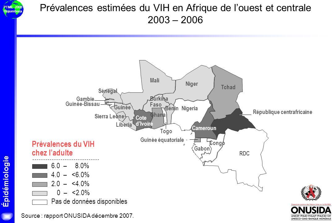 Épidémiologie PTME 2008 Bujumbura Mali Burkina Faso Cameroun République centrafricaine Tchad Cote dIvoire RDC Guinée Nigeria Sénégal Sierra Leone Togo