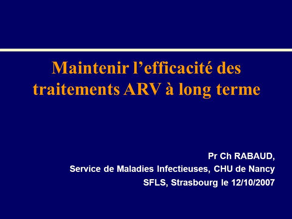 Pr Ch RABAUD, Service de Maladies Infectieuses, CHU de Nancy SFLS, Strasbourg le 12/10/2007 Maintenir lefficacité des traitements ARV à long terme