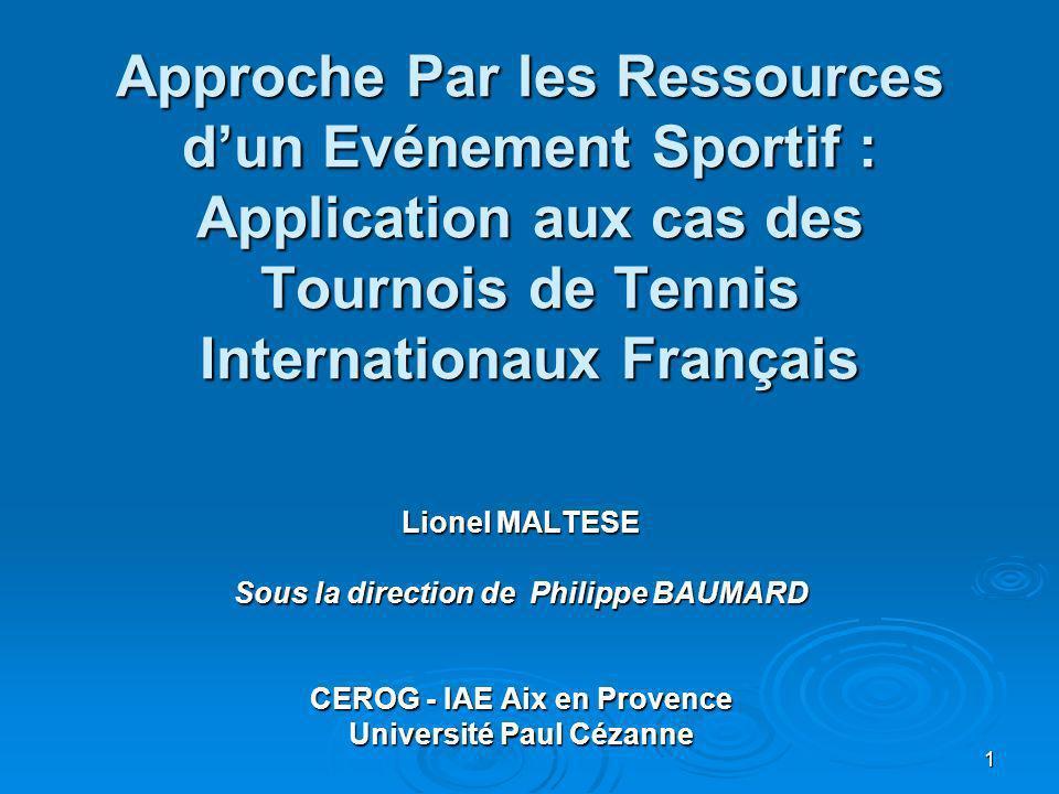 1 Approche Par les Ressources dun Evénement Sportif : Application aux cas des Tournois de Tennis Internationaux Français Lionel MALTESE Sous la direct