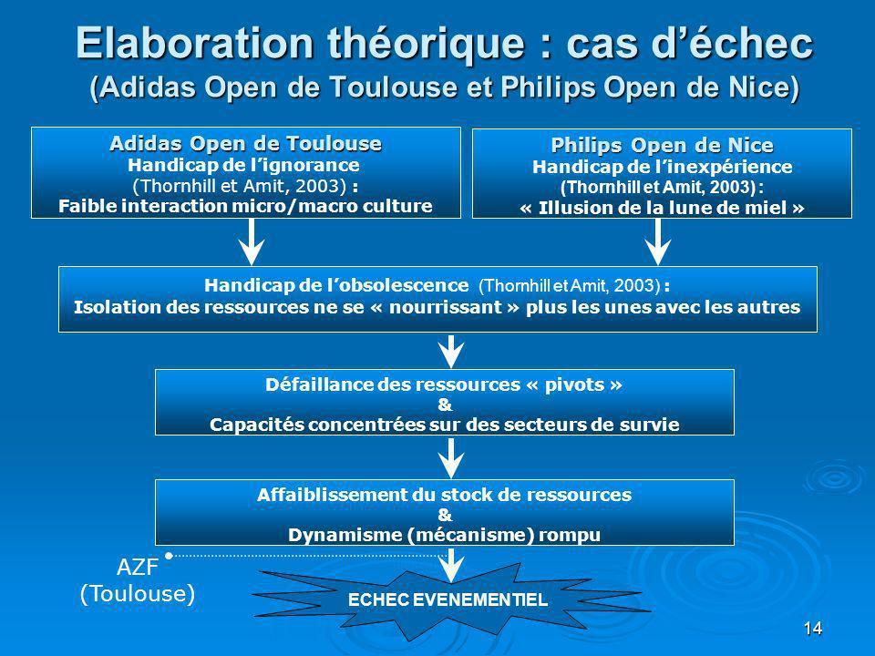 14 Elaboration théorique : cas déchec (Adidas Open de Toulouse et Philips Open de Nice) Adidas Open de Toulouse Handicap de lignorance (Thornhill et A