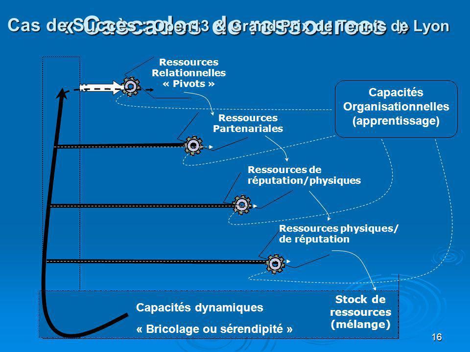 16 « Cascades de ressources » Stock de ressources (mélange) Ressources Relationnelles « Pivots » Ressources Partenariales Ressources de réputation/phy