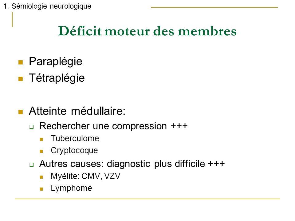 Déficit moteur des membres Paraplégie Tétraplégie Atteinte médullaire: Rechercher une compression +++ Tuberculome Cryptocoque Autres causes: diagnosti