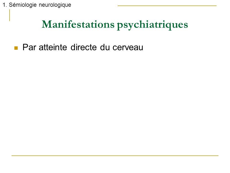 Manifestations psychiatriques Par atteinte directe du cerveau 1. Sémiologie neurologique