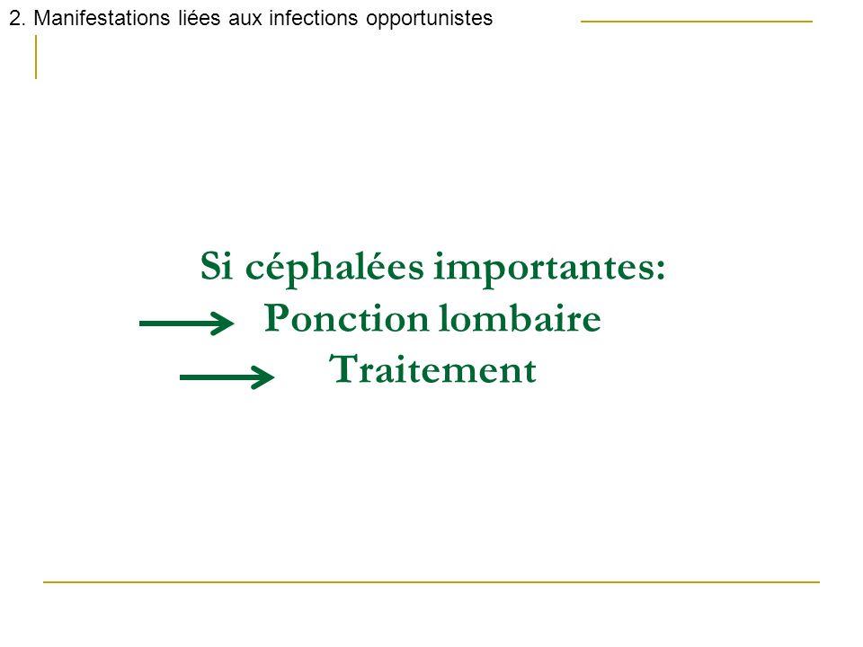 Si céphalées importantes: Ponction lombaire Traitement 2. Manifestations liées aux infections opportunistes
