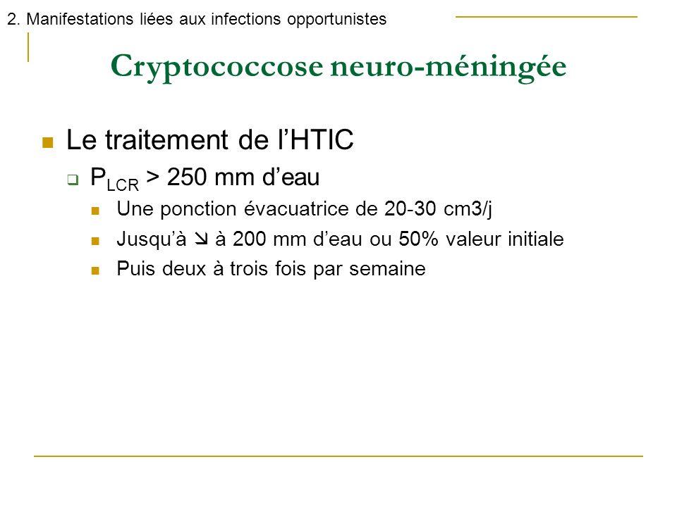 Le traitement de lHTIC P LCR > 250 mm deau Une ponction évacuatrice de 20-30 cm3/j Jusquà à 200 mm deau ou 50% valeur initiale Puis deux à trois fois