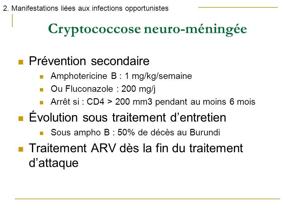 Cryptococcose neuro-méningée 2. Manifestations liées aux infections opportunistes Prévention secondaire Amphotericine B : 1 mg/kg/semaine Ou Fluconazo