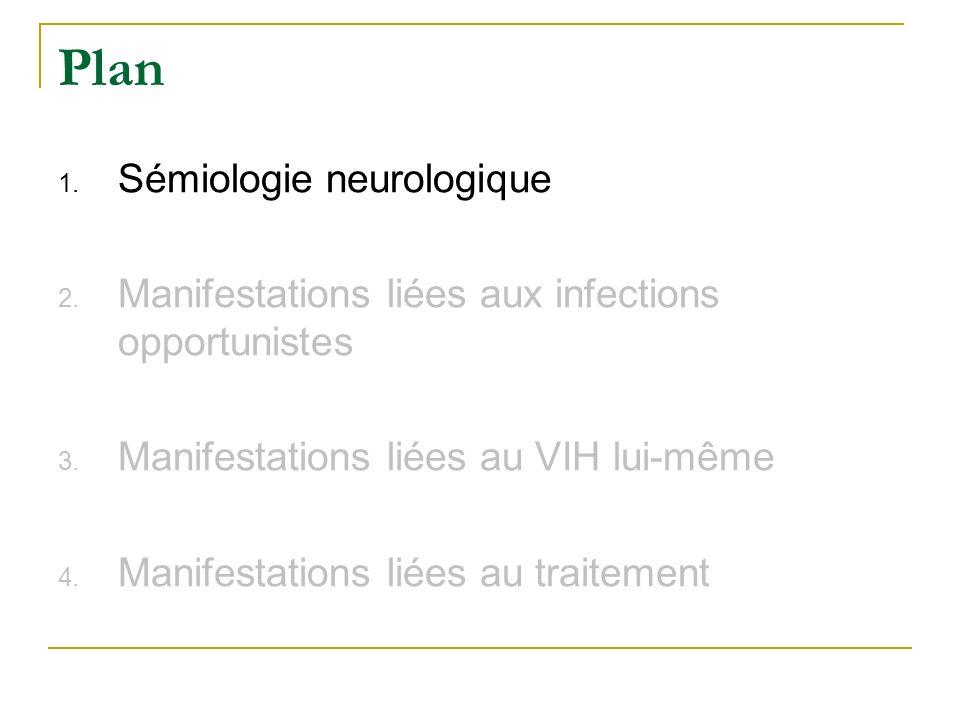 Plan 1. Sémiologie neurologique 2. Manifestations liées aux infections opportunistes 3. Manifestations liées au VIH lui-même 4. Manifestations liées a
