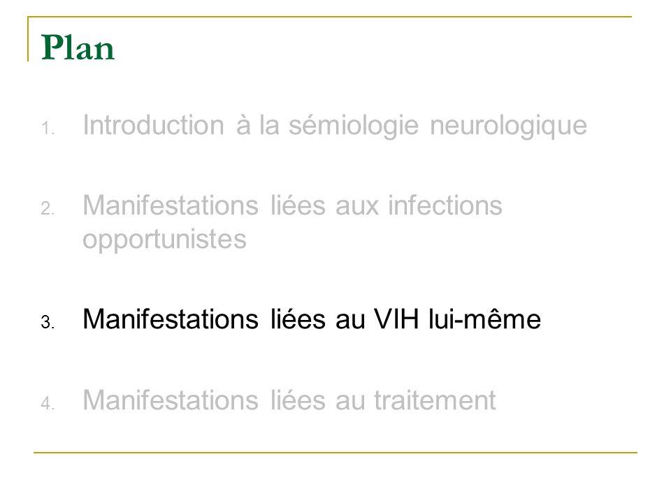 Plan 1. Introduction à la sémiologie neurologique 2. Manifestations liées aux infections opportunistes 3. Manifestations liées au VIH lui-même 4. Mani