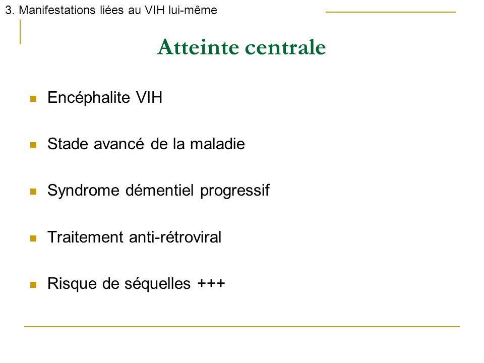 Atteinte centrale Encéphalite VIH Stade avancé de la maladie Syndrome démentiel progressif Traitement anti-rétroviral Risque de séquelles +++ 3. Manif