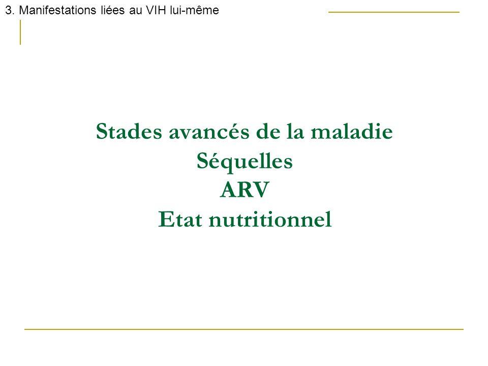 Stades avancés de la maladie Séquelles ARV Etat nutritionnel 3. Manifestations liées au VIH lui-même
