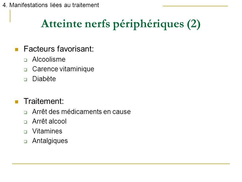 Atteinte nerfs périphériques (2) Facteurs favorisant: Alcoolisme Carence vitaminique Diabète Traitement: Arrêt des médicaments en cause Arrêt alcool V