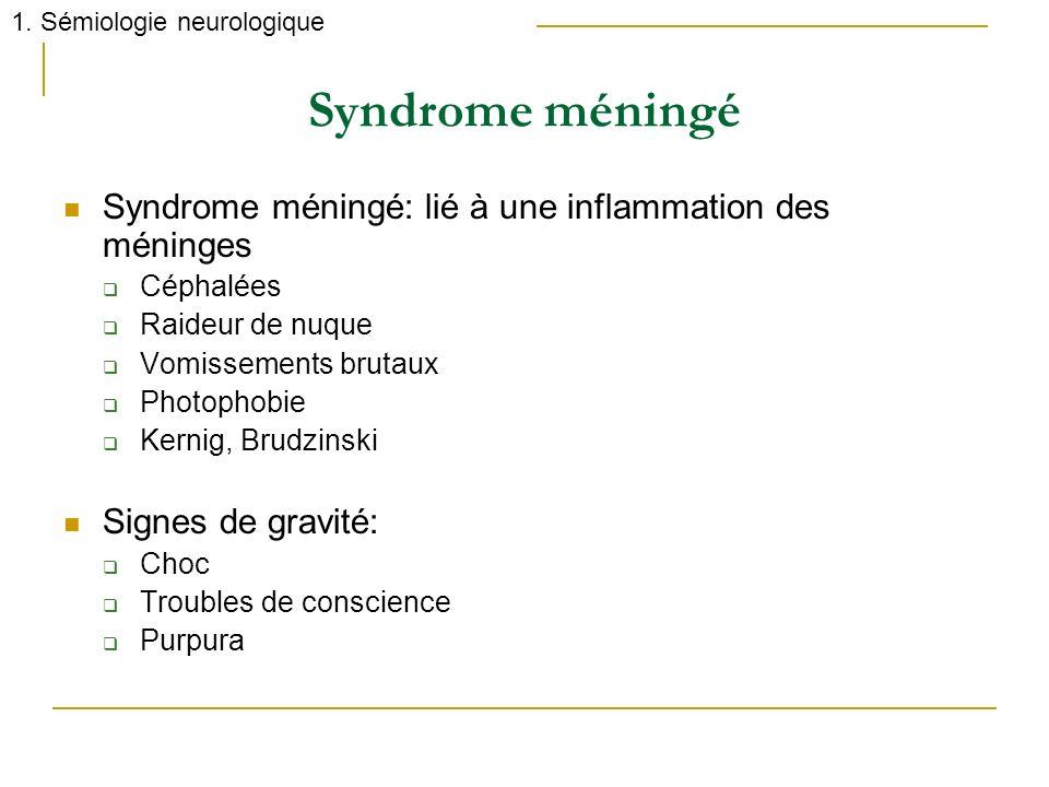 Syndrome méningé Syndrome méningé: lié à une inflammation des méninges Céphalées Raideur de nuque Vomissements brutaux Photophobie Kernig, Brudzinski