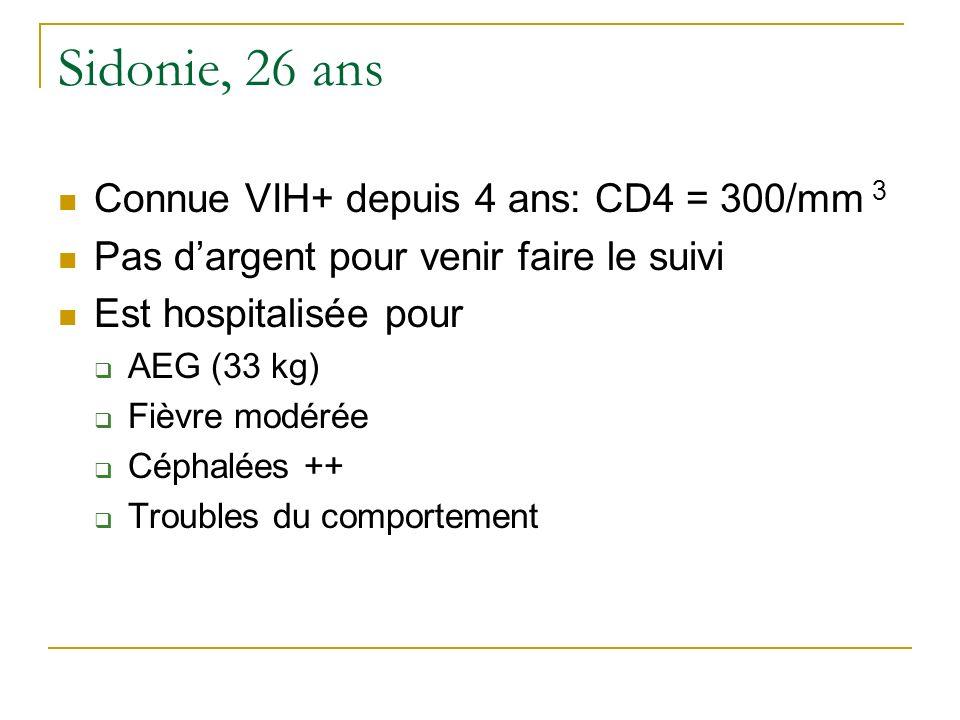 Sidonie, 26 ans Connue VIH+ depuis 4 ans: CD4 = 300/mm 3 Pas dargent pour venir faire le suivi Est hospitalisée pour AEG (33 kg) Fièvre modérée Céphal