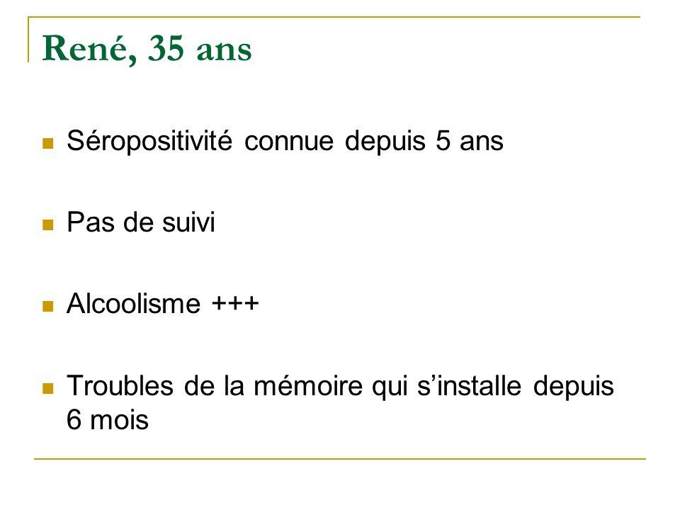 René, 35 ans Séropositivité connue depuis 5 ans Pas de suivi Alcoolisme +++ Troubles de la mémoire qui sinstalle depuis 6 mois
