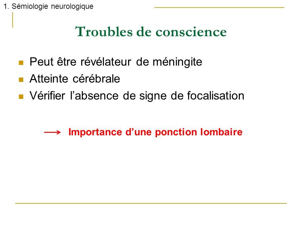Troubles de conscience Peut être révélateur de méningite Atteinte cérébrale Vérifier labsence de signe de focalisation 1. Sémiologie neurologique Impo