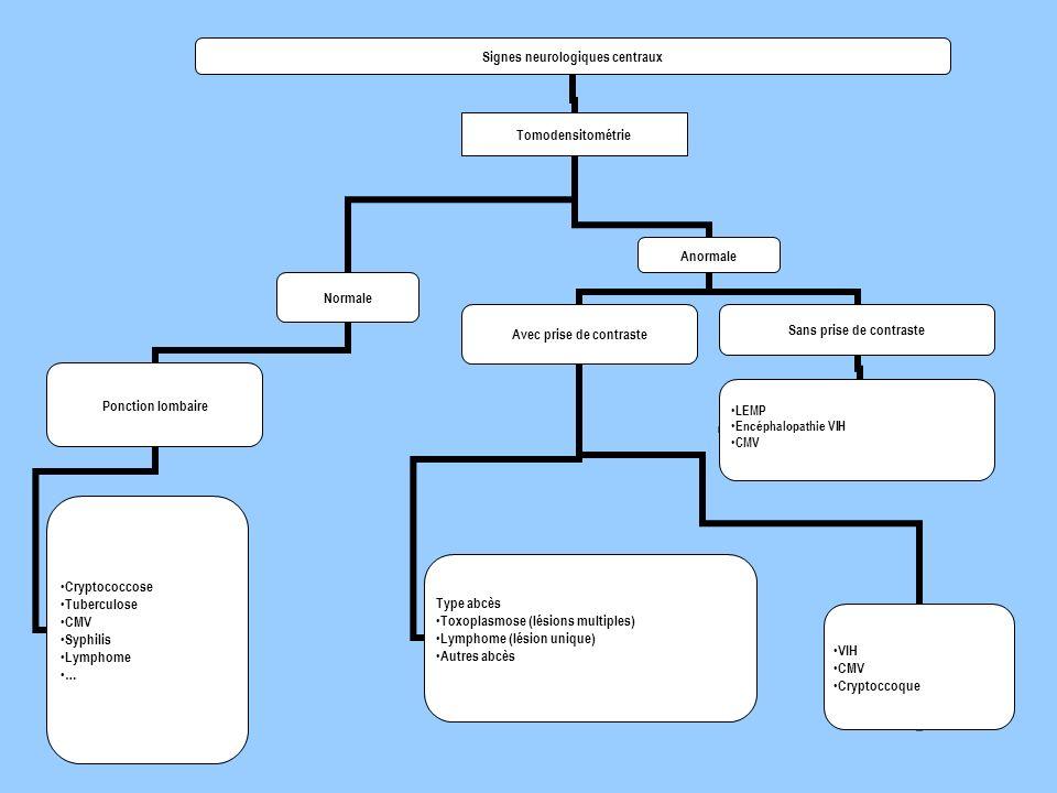 Signes neurologiques centraux Tomodensitométrie Normale Ponction lombaire Cryptococcose Tuberculose CMV Syphilis Lymphome … Anormale Avec prise de con