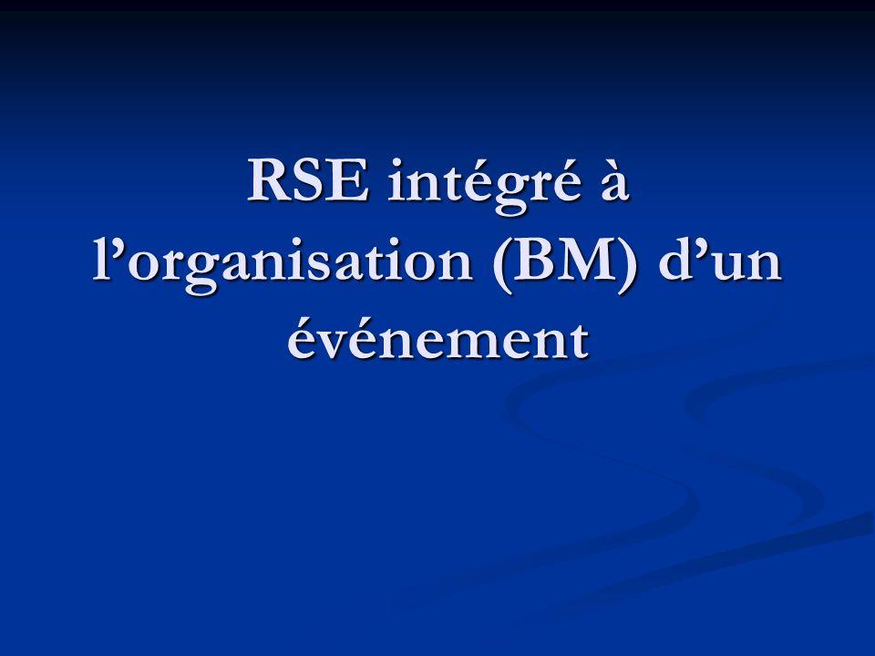 RSE intégré à lorganisation (BM) dun événement