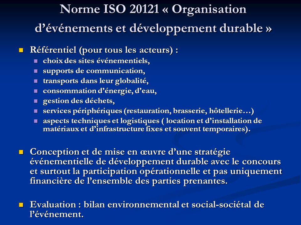 Norme ISO 20121 « Organisation dévénements et développement durable » Référentiel (pour tous les acteurs) : Référentiel (pour tous les acteurs) : choi