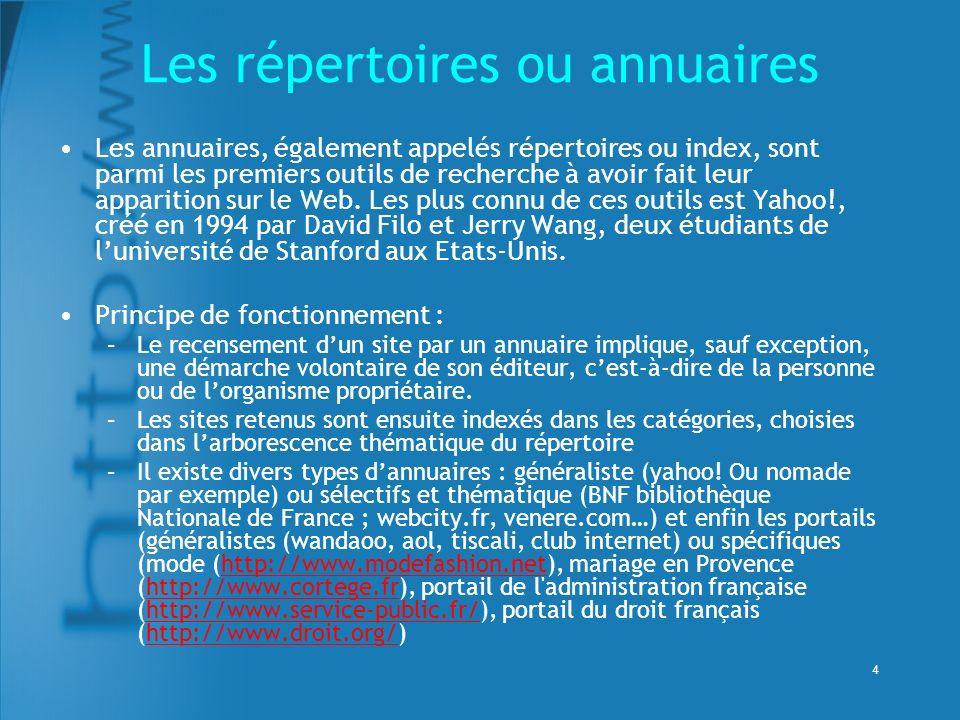 4 Les répertoires ou annuaires Les annuaires, également appelés répertoires ou index, sont parmi les premiers outils de recherche à avoir fait leur apparition sur le Web.