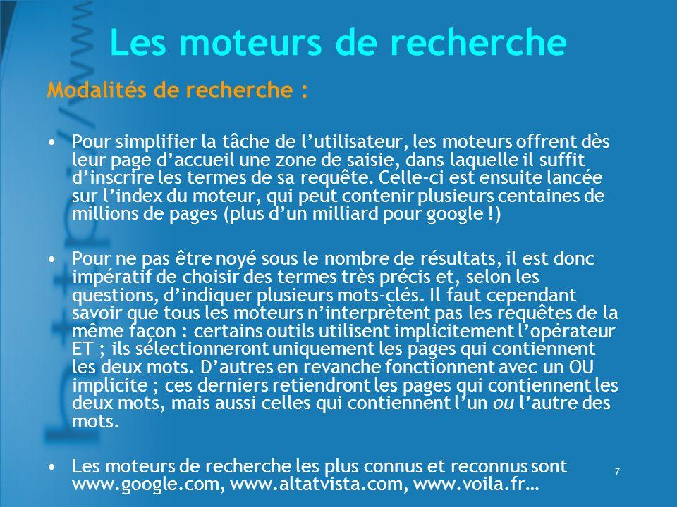 8 Google (www.google.fr)www.google.fr Loriginalité de Google repose sur une technologie particulière, basée sur le calcul de la « popularité » des pages.