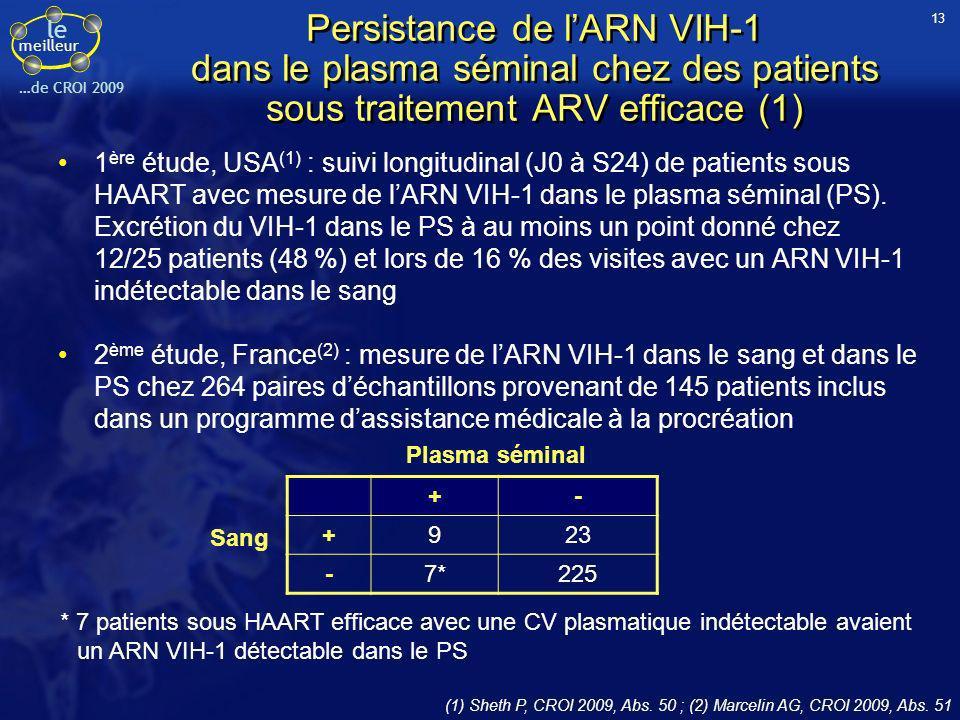 le meilleur …de CROI 2009 Persistance de lARN VIH-1 dans le plasma séminal chez des patients sous traitement ARV efficace (1) 1 ère étude, USA (1) : s