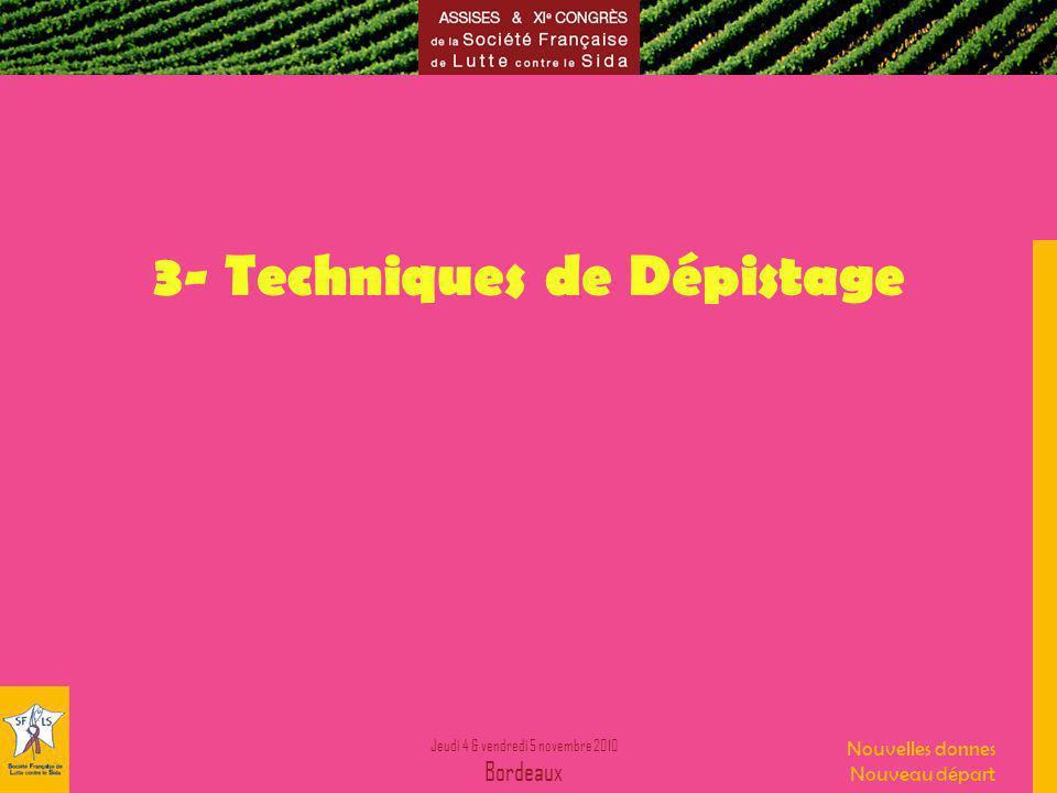 Jeudi 4 & vendredi 5 novembre 2010 Bordeaux Nouvelles donnes Nouveau départ 3- Techniques de Dépistage