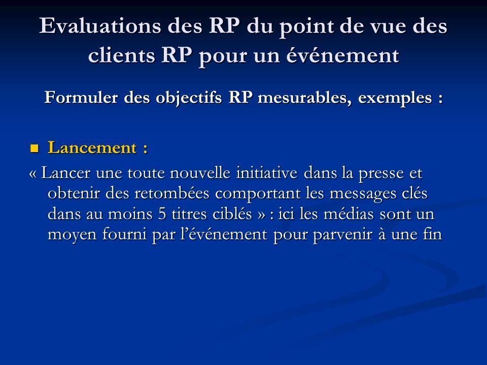 Evaluations des RP du point de vue des clients RP pour un événement Formuler des objectifs RP mesurables, exemples : Lancement : Lancement : « Lancer