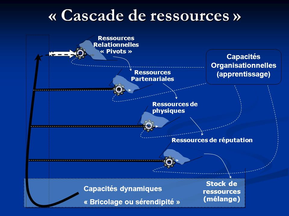 « Cascade de ressources » Stock de ressources (mélange) Ressources Relationnelles « Pivots » Ressources Partenariales Ressources de physiques Ressourc