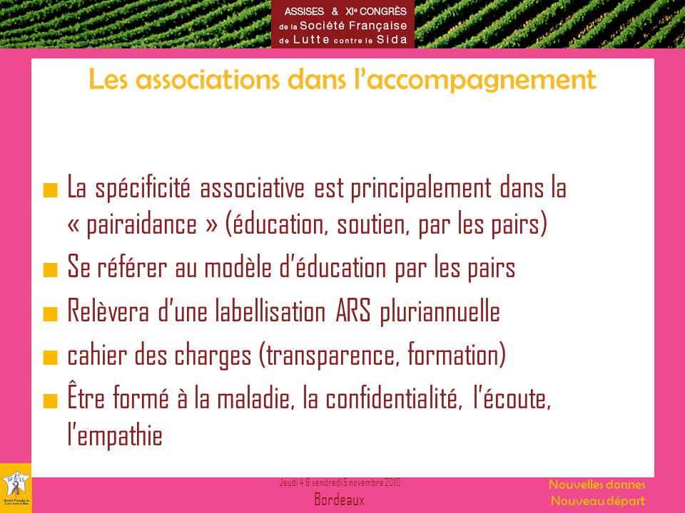 Jeudi 4 & vendredi 5 novembre 2010 Bordeaux Nouvelles donnes Nouveau départ Les associations dans laccompagnement La spécificité associative est princ