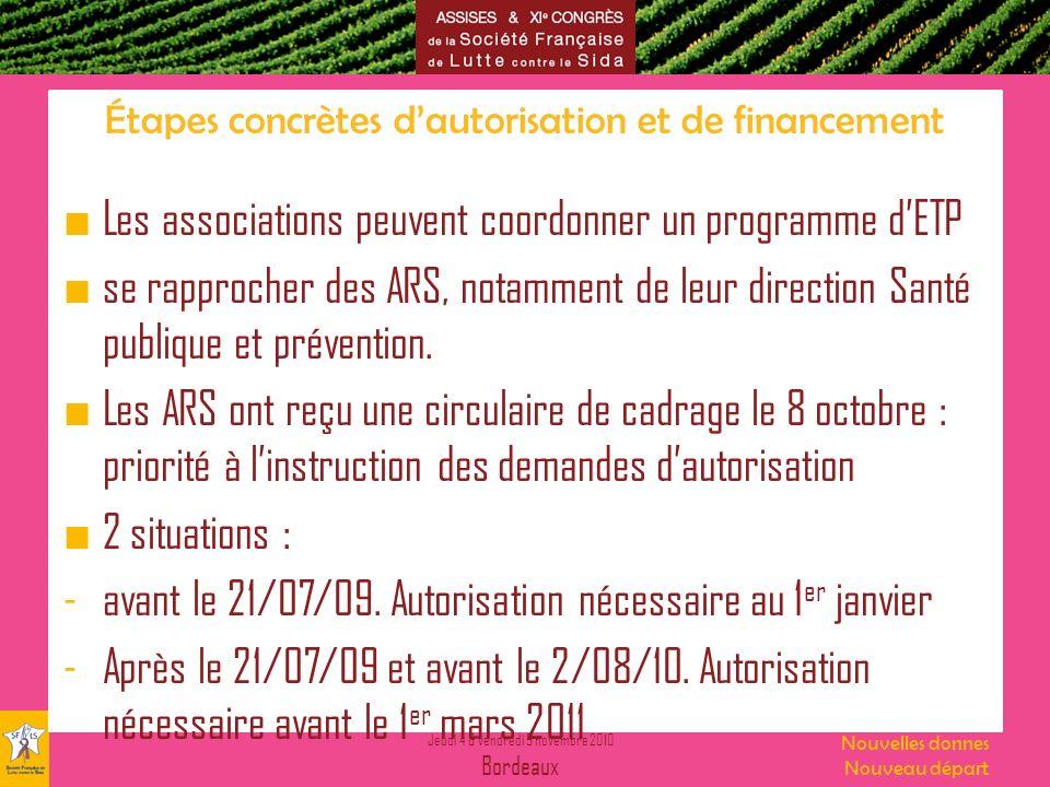 Jeudi 4 & vendredi 5 novembre 2010 Bordeaux Nouvelles donnes Nouveau départ Étapes concrètes dautorisation et de financement Les associations peuvent