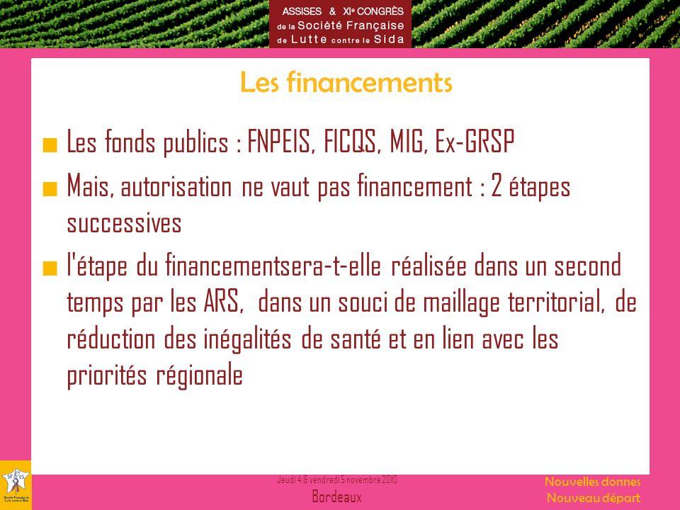 Jeudi 4 & vendredi 5 novembre 2010 Bordeaux Nouvelles donnes Nouveau départ Les financements Les fonds publics : FNPEIS, FICQS, MIG, Ex-GRSP Mais, aut