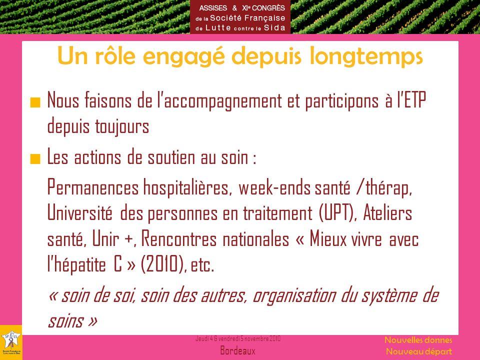 Jeudi 4 & vendredi 5 novembre 2010 Bordeaux Nouvelles donnes Nouveau départ Un rôle engagé depuis longtemps Nous faisons de laccompagnement et partici