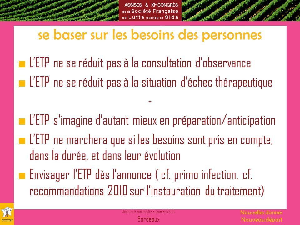 Jeudi 4 & vendredi 5 novembre 2010 Bordeaux Nouvelles donnes Nouveau départ se baser sur les besoins des personnes LETP ne se réduit pas à la consulta