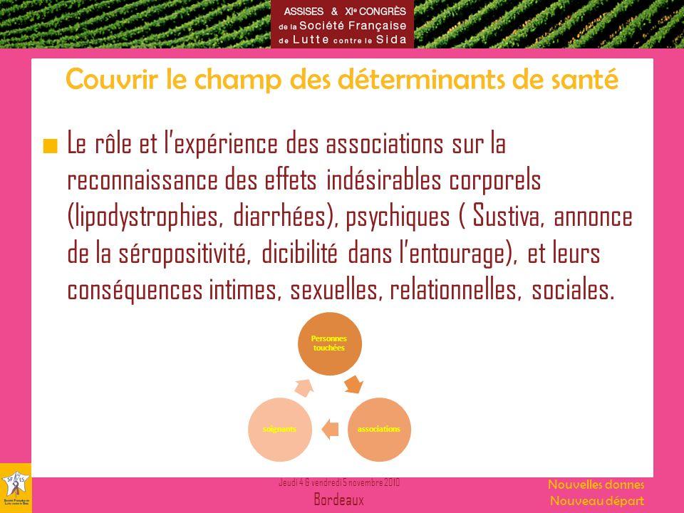 Jeudi 4 & vendredi 5 novembre 2010 Bordeaux Nouvelles donnes Nouveau départ Couvrir le champ des déterminants de santé Le rôle et lexpérience des asso