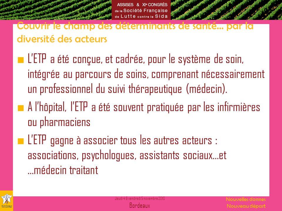 Jeudi 4 & vendredi 5 novembre 2010 Bordeaux Nouvelles donnes Nouveau départ Couvrir le champ des déterminants de santé… par la diversité des acteurs L