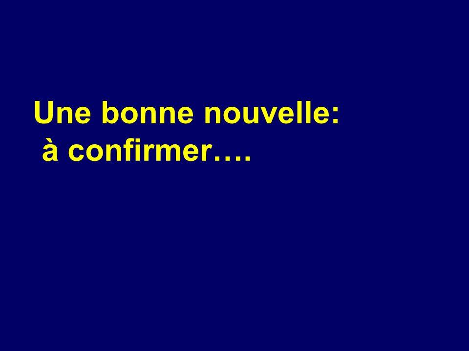 Une bonne nouvelle: à confirmer….