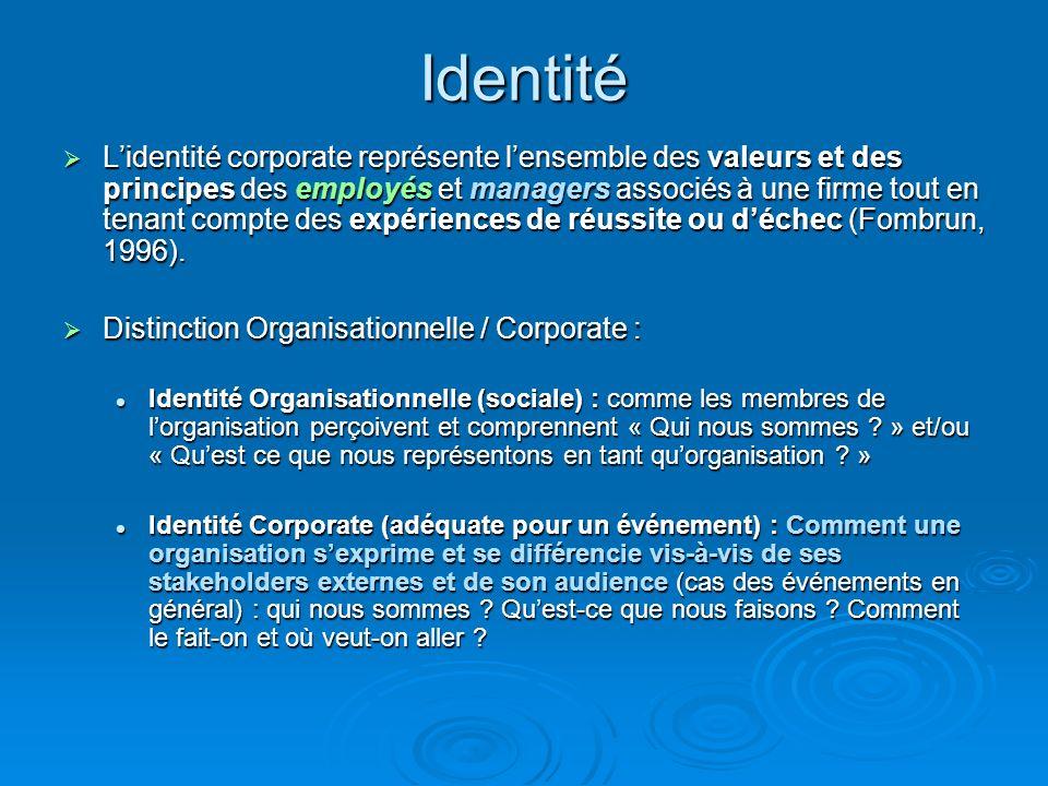 Identité Lidentité corporate représente lensemble des valeurs et des principes des employés et managers associés à une firme tout en tenant compte des