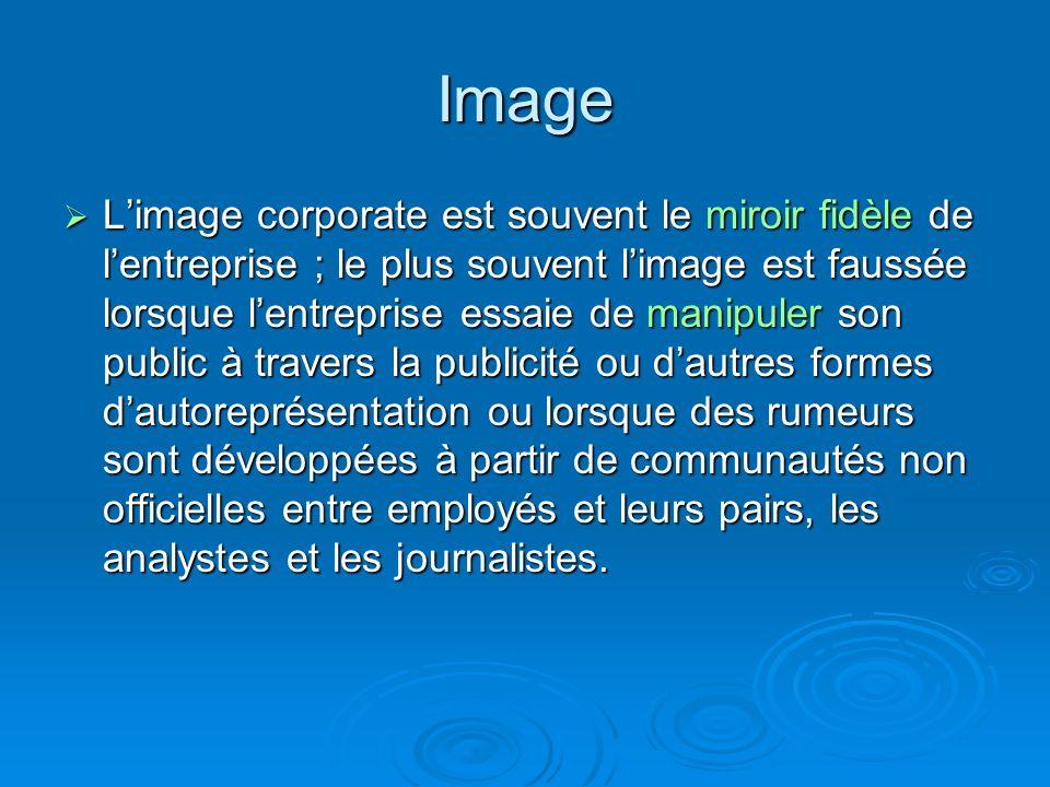 Image Limage corporate est souvent le miroir fidèle de lentreprise ; le plus souvent limage est faussée lorsque lentreprise essaie de manipuler son pu